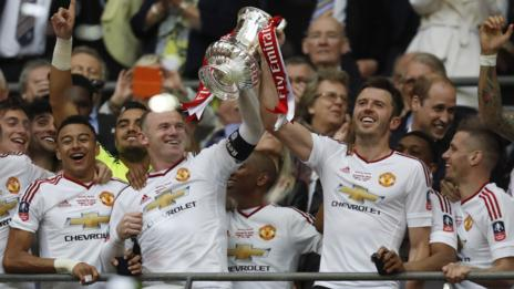 Manchester United celebrate winning the 2016 FA Cup