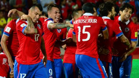 Chile players celebrating