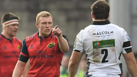 Keith Earls talks with Glasgow's Fraser Brown as he leaves the field following his red card