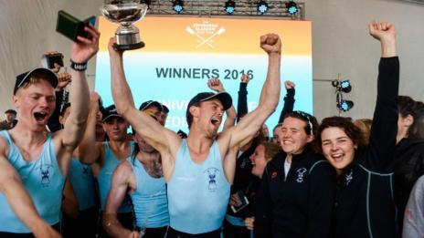 Overall winners the University of Edinburgh celebrate winning the Scottish Boat Race 2016