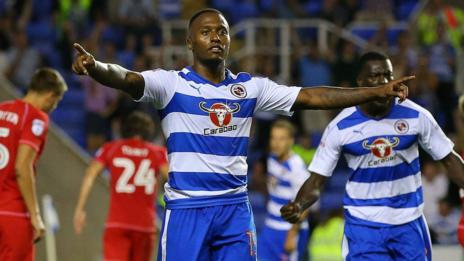 Callum Harriott celebrates his first goal for Reading