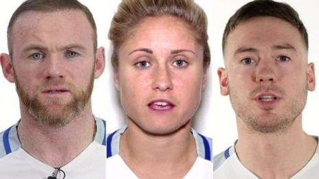Wayne Rooney, Steph Houghton and Jack Rutter