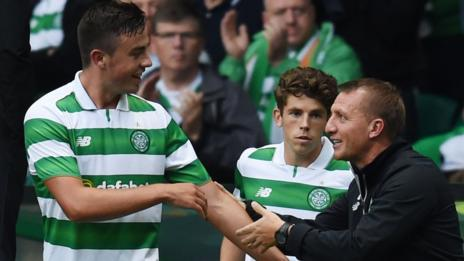 Eoghan O'Connell is congratulated by Brendan Rodgers for scoring against Leicester on Saturday