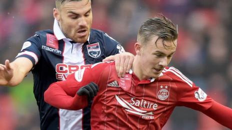 Aberdeen's James Maddison holds off Ross County's Ian McShane