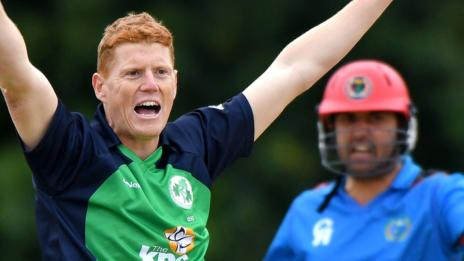 Ireland all-rounder Kevin O'Brien makes an appeal during the recent series at Stormont against Afghanistan