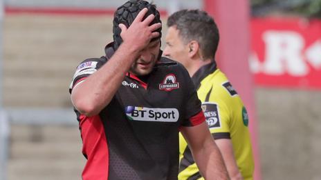 Fraser McKenzie holds his head after being sin-binned against Munster