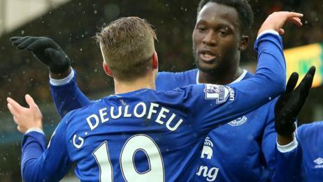 Everton's Romelu Lukaku and Gerard Deulofeu
