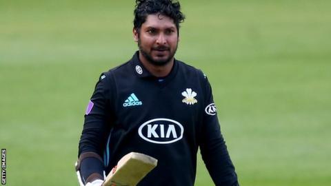 Kumar Sangakkara reaches his century against Hampshire