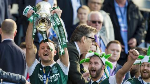 Anthony Stokes lifts the Scottish Cup
