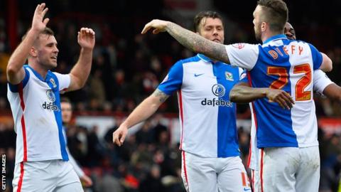 Blackburn celebrate Shane Duffy's winner at Brentford