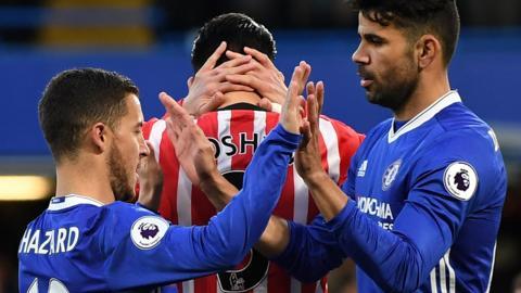 Diego Costa and Eden Hazard of Chelsea