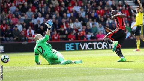 Benik Afobe scores for Bournemouth against Middlesbrough