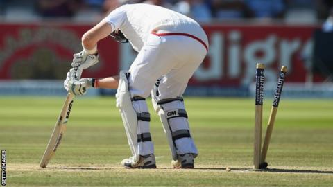 Joe Root is bowled in the England collapse