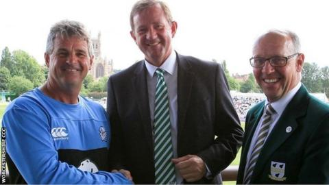 Tom Scott's appointment as CEO was warmly welcomed by the county's director of cricket Steve Rhodes (left) and chairman Stephen Taylor (right)
