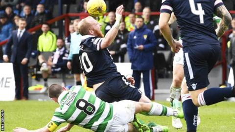 Scott Brown was sent off for a late tackle on Ross County striker Liam Boyce