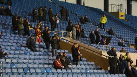 Small number of Bradford City fans at EFL Trophy match at Oxford United