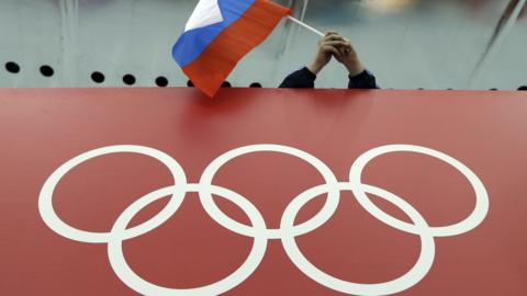 Russia flag and Olympic rings