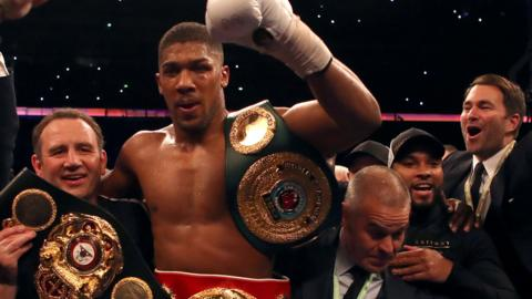 Anthony Joshua celebrates
