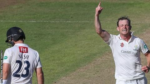 Graham Wagg celebrates taking Chris Nash's wicket