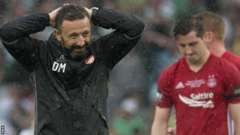 Aberdeen manager Derek McInnes is left disappointed against Celtic