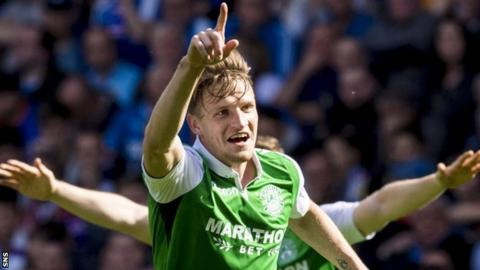 Hibs' Vykintas Slivka scored against Rangers