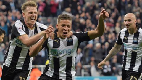Dwight Gayle and Matt Ritchie celebrate
