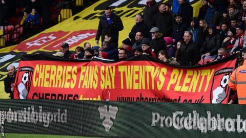 Bournemouth fans back the FSF's Twenty's Plenty campaign