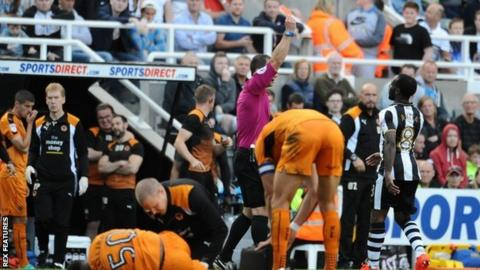 Vurnon Anita was sent off late on in Saturday's 2-0 league defeat by Wolves