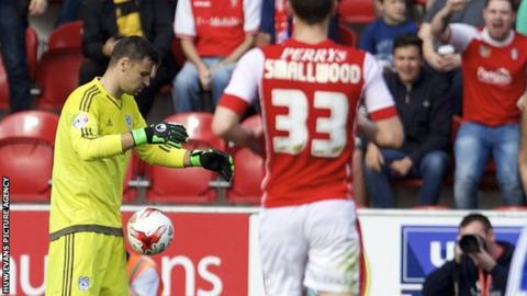 David Marshall is given his marching orders against Rotherham