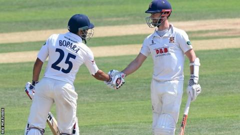 James Foster (right) got within 24 runs of his own county sixth-wicket record in his double century stand with Ravi Bopara