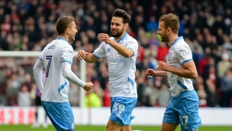 Sheffield Wednesday's players celebrate after going ahead against Nottingham Forest