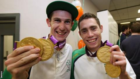 Michael McKillop and Jason Smyth after arriving back in Ireland following their London 2012 heroics