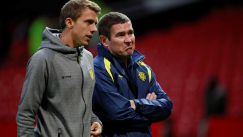 Burton defender Stephen Warnock and manager Nigel Clough