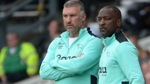 Nigel Pearson (left) and Chris Powell on the sidelines for Derby County