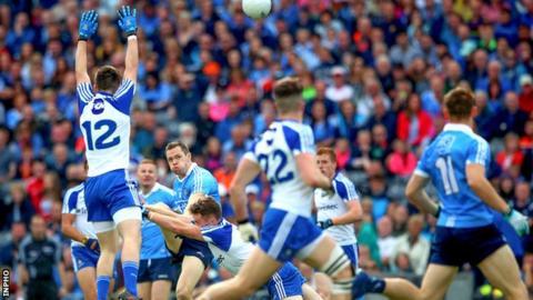 Dublin forward Dean Rock gets his shot away in the All-Ireland quarter-final against Monaghan