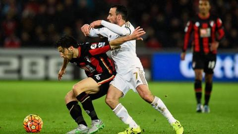 Bournemouth's Harry Arter fights off Swansea's Leon Britton in November's 2-2 draw.