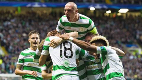 Celtic captain Scott Brown celebrates a goal v Astana