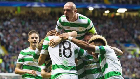 Celtic captain Scott Brown celebrates a goal v Astana