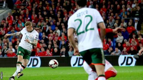 James McClean fires the ball into the Wales net to give the Republic victory in Cardiff