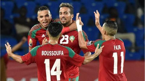 Morocco celebrate after Rachid Alioui scores in the second half