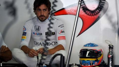 Fernando Alonso failed to set a time during first practice
