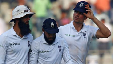 Moeen Ali, Adil Rashid and Alastair Cook