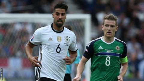 Sami Khedira and Steven Davis in action during Northern Ireland's 1-0 defeat by Germany at the Euro 2016 finals in France