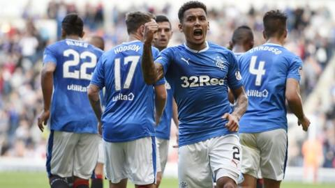 Rangers defender James Tavernier celebrates after scoring the fourth goal in the League Cup victory against Dunfermline