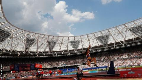 GB's Katarina Johnson-Thompson competed in the women's long jump at the 2016 Anniversary Games