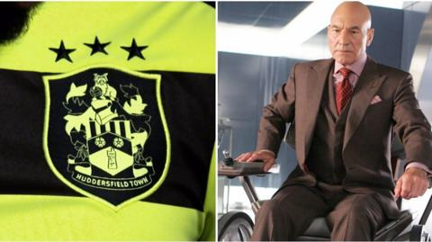 Huddersfield Town badge and Professor X from X Men