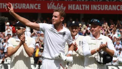 Stuart Broad (centre) celebrates his eight wickets