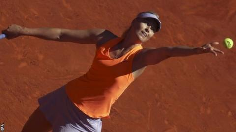 Maria Sharapova in action at the Madrid Open