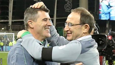 Martin O'Neill embraces Roy Keane after the Republic's Euro 2016 play-off triumph over Bosnia-Herzegovina