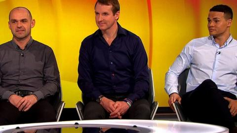 Danny Murphy (L) Henry Winter (C) and Jermaine Jenas (R) discuss the final signings of the January transfer window.